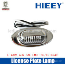 Chrome License plate lamp with E-MARK truck license plate lamp number plate light