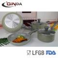 Revêtement en marbre 6pcs ustensiles de cuisine avec poignée en silicone