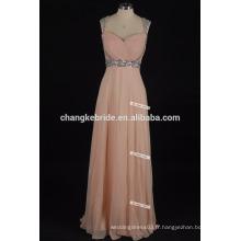 Fashion sequins perlé robes sweetheart longues robes de soirée en mousseline de soie