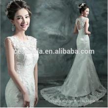 Elegant Eine Linie weiße Trompete Meerjungfrau Brautkleid