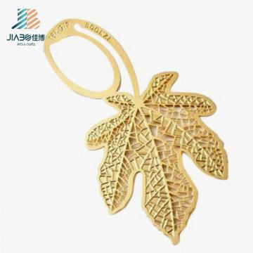 Новая продукция с логотипом золотым тиснением пользовательские закладки листьев в металле