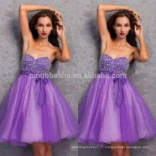 Cheap 2014 Purple A-Line Short Organza Robe Homecoming Sweetheart Genou-longueur perlée Bodice Graduation Gown With Sash NB0835