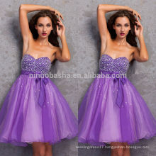 Cheap 2014 Purple A-Line Short Organza Homecoming Dress Sweetheart Knee-Length Beaded Bodice Graduation Gown With Sash NB0835
