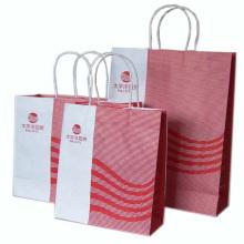 Bolso de compras de papel Kraft blanco