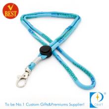 Custom Wholesale Printed Polyester Woven Nylon Tubular Card Holder Keychain Dye Sublimation Heat Transfer Printing Neck Strap Ribbon Lanyard with Badge Reel