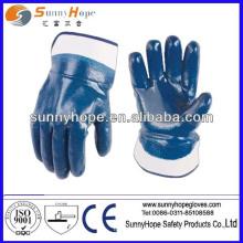 Luvas totalmente revestidas de nitrilo azul com manguito de segurança