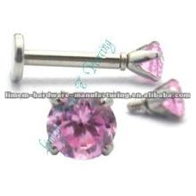 labret rosqueado interno com bola de cristal 1.2mm 16G, aço cirúrgico 316L jóias piercing