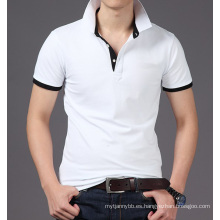 Camiseta de polo de los hombres al por mayor de encargo de algodón liso hecho a la moda