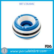 Blue and White Ceramic Round Shape Ashtray