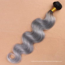 New fashion! Malaysian virgin hair ombre #1b/grey two tone dark root black to grey/gray human hair extension for women female