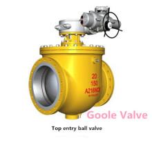 Válvula de esfera montada do trunnion da entrada da parte superior elétrica (GSQ947F)