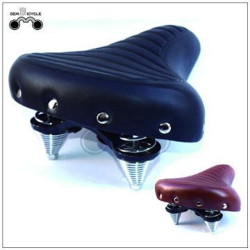 Large soft classic spring leather bicycle saddle