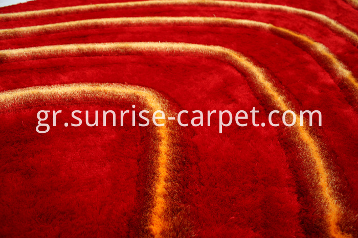 Polyester Shaggy Rug with Red and Orange color