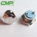 Interruptor de botón momentáneo plateado de plata de 16 mm