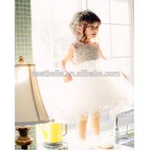 Белый цветок девушки платье танец ну вечеринку пачка платья принцесса платье для Рождественской вечеринки