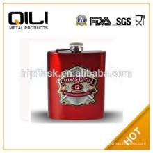7oz stainless steel laser welding coating hip flask with CMYK color logo