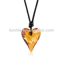 Atacado de pedra natural pingente de cristal forma de coração