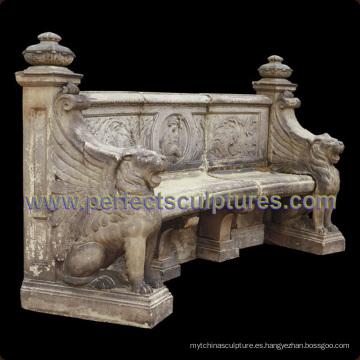Piedra de mármol antigua silla de jardín para decoración de jardín (QTC066)