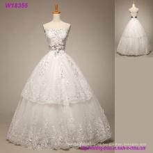 Vestido de novia romántica de tul suave cariño Vestido de novia con apliques de encaje 2018 Vestido de novia elegante Lace up