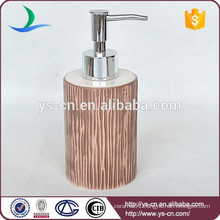 YSb40010-02-ld Toffee ceramic bathroom soap dispenser with full printing