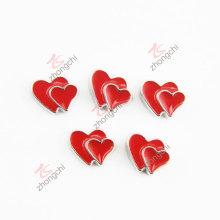 Doble corazón rojo encantos de flotante Locket (FC)