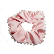 Retro Scrunchies New Hair Accessories Tie Bow Elastic Band Ribbon Pearl Designer Fabric for Women Solid for Girl Wholesale