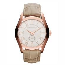 Reloj de cuarzo de cuero marrón de moda