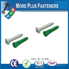 Made in Taiwan Carbon Steel Tapping Screw with Colorful Nylon Anchor