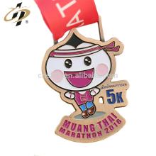 Medalla de maratón de metal personalizado fábrica de Shuanghua con cinta