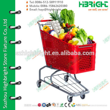 red plastic basket shopping trolley