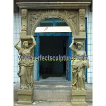 Каменная мраморная гранитная дверь с аркой, которая окружает дверную арку (DR044)
