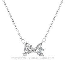 Оптовый родий покрыл браслет ожерелья bowknot ювелирных изделий и комплект серьги