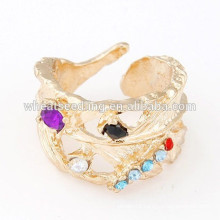 High quality 2014 lady leaf gold ring with diamond