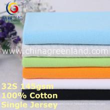 Malha de algodão único jersey tecido para camisa têxtil (glllm376)