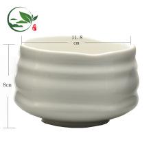Tazón de Matcha grande de cerámica blanco lechoso