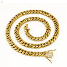 Thick Statement Iced Out Stainless Steel Cuban Link Chain Gold Necklace