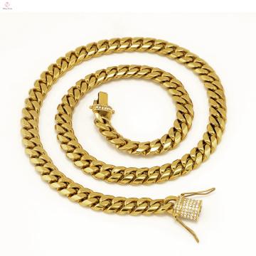 Thick Statement Iced Out Edelstahl Kubanische Gliederkette Goldkette