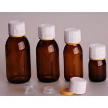 Янтарный стеклянная бутылка для сиропа DIN PP 28 мм