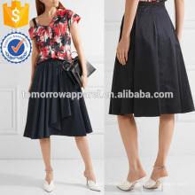 Assimétrica plissada algodão-popeline saia fabricação atacado moda feminina vestuário (TA3017S)