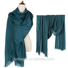 Texted Material 300s / g color sólido invierno 100% lana bufanda lana para mujer