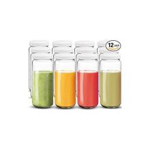16oz 500ml clear glass juice bottles milk beverage bottles with plastic screw top cap