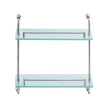 Decorative Bathroom Stainless Steel all Mounted Type Wall Hung 2 Tiers Glass Shelf