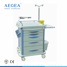 AG-ET007B3 CE ABS emergency hospital medical plastic drawer trolley