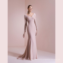 Long Sleeve Lace Chiffon Mermaid Evening Dress