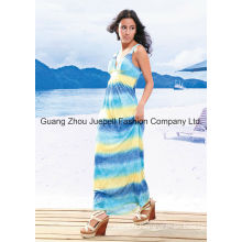 Knit Deep V Tribal Print Women New Fashion Design Maxi Dress
