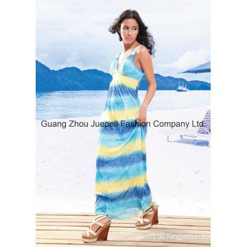 Knit Deep V Tribal Print Frauen New Fashion Design Maxi Kleid