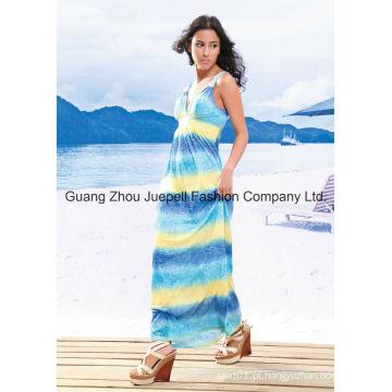 Knit Deep V Tribal Mulheres Imprimir Nova Moda Design Maxi Dress
