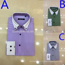 Elegante White and Shirt Color Plaids & Checks Turn-Down Collar Com Punho Branco 2014 Moda Men's Dress Shirts NB0576