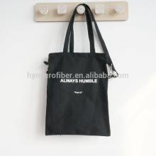 Bolso de mensajero de la lona negra de la impresión del logotipo de la fuente de China con la cremallera