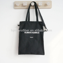 China supply logo printing black canvas messenger bag with zipper